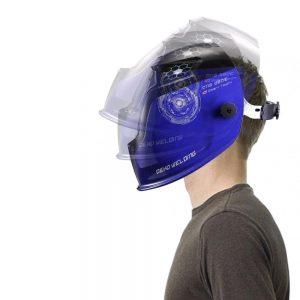 masque de soudeur bleu