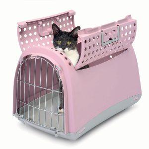 caisse de transport pour chat rose